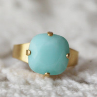 Mint Green Opal... Mint Alabaster... Cushion Cut Square... Adjustable Ring... Swarovski Crystal... Silver
