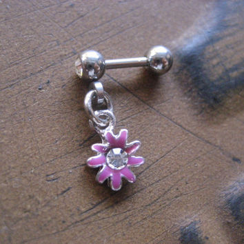 Dainty Daisy Pink Flower Tragus Cartilage Piercing- Charm Dangle Stud Post Earring Helix Bar Barbell 16 Gauge