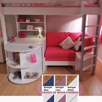 High Sleeper Bed with Desk and Sofa Bed