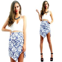PAISLEY HIGH WAISTED JAGGED CUT IN POINTY ASYMMETRICAL HEM TUBE SKIRT 6 8 10 12