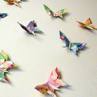 10 Large Swallowtail 3D Origami Butterflies by PullingPetals