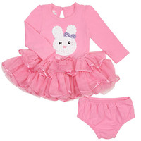 Koala Kids Girls' 2 Piece Pink Easter Long Sleeve Tutu Dress and Diaper Cover Set