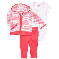 "Carter's Girls ""I Love Mommy"" 3 Piece Set with Hooded Cardigan, Bodysuit and Pant"