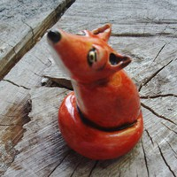 Porcelain Red Fox Ring Holder Scupture by ALDDesigns on Etsy