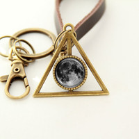 Planet Keychain- Full Moon- Brass Planet Pendant Key Chain with Leather Chain