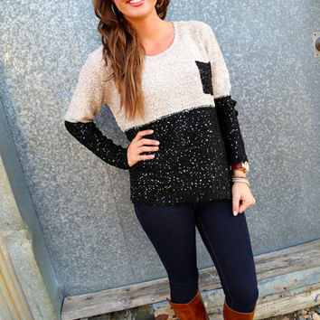 Shimmery  Color Block Sweater {Black}