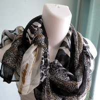 Luxury Woman Scarf Accessories Fancy Scarf Light Weight Scarf Neck Scarf Animal Print