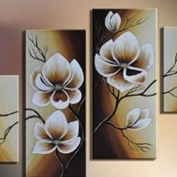 Santin Art- 100% Hand-painted Free Shipping Wood Framed Oil Wall Art Warm Day Yellow Flowers Bloom Home Decoration Abstract Floral Oil Painting on Canvas 4pcs/set Mixorde