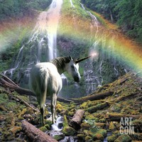 Unicorn Walking Towards Waterfall Photographic Print by Buddy Mays at Art.com