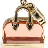 LOUIS VUITTON Alma Pink Glass Yellow Gold Pendant Charm