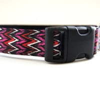 Pink and Black Chevron Dog Collar Adjustable Sizes (M, L, XL)