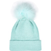 Light blue Marabou feather beanie hat