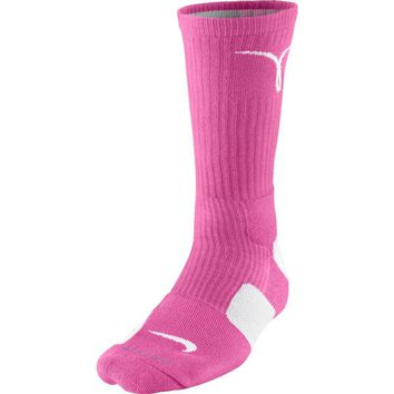 Nike Dri-Fit Elite Kay Yow Crew Socks Pink/White Medium Size Medium