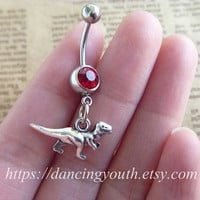 Silver Dinosaur Belly Button Ring, Crystal Belly Ring,