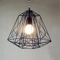Handmade Pendant Light Chandelier Edison Restoration Industrial style cage diamond