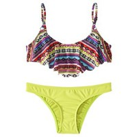 Junior's 2-Piece Hanky Top Swimsuit -Tribal Print