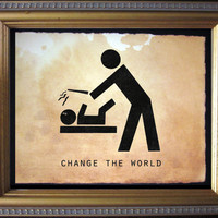 Change the World Art Print -Harry Potter Diaper Change Art Print - Wand Fight- Digital Collage Art Print on Tea Stained Paper - Art Print