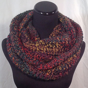 Crochet Infinity Scarf - Multicolored Black