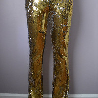 Gold Sequin Flare Pant by DanielaTabois on Etsy