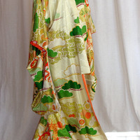 Authentic Vintage Japanese Cream Silk Kimono, Gold Trim Embroidery with Orange and Green Accents