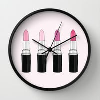 favorite pink lipstick Wall Clock by 23madisonstudio