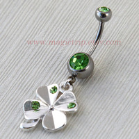 Clover Belly Button Rings, belly button ring, leaf belly ring, bestfriend belly button ring