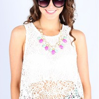 White Crochet Crop Tank