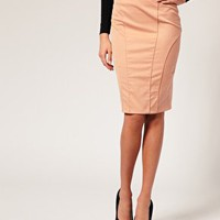 Tailored High Waist Seamed Pencil Skirt