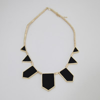 [SALE] BLACK FAUX LEATHER FEATHER STATIONS NECKLACE STATEMENT PIECE