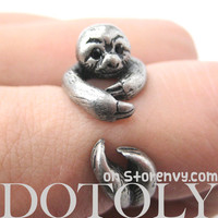 PRE-ORDER Sloth Animal Wrap Around Hug Ring in Silver - Size 4 to 9 Available -