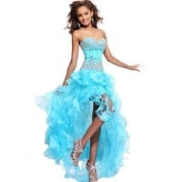 IDOBRIDAL Blue Strapless Rhinestone Bridesmaid Evening Party Prom Cocktail Dress 04