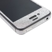 TCD Silver Grey Sparkling Glitter Full Body Skin Sticker Film With Clear Screen Protector For iPhone 5 5S