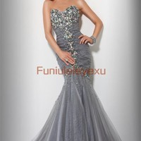 Sexy Mermaid Sweetheart Beaded Tulle Long Formal Party Evening Gown Prom Dresses