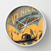 Vintage theatrical poster for Imre Kiralfy's production of Venice Bride of the Sea at Olympia Wall Clock by RQ Designs (Retro Quotes)
