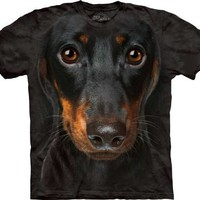 Daschund Portrait Dog Men's Black Tee