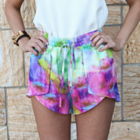 COSMIC TIE DYE SHORTS , DRESSES, TOPS, BOTTOMS, JACKETS & JUMPERS, ACCESSORIES, 50% OFF SALE, PRE ORDER, NEW ARRIVALS, PLAYSUIT, COLOUR, GIFT VOUCHER,,SHORTS,Pink,Print,Purple Australia, Queensland, Brisbane