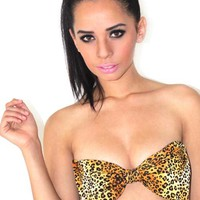 MARIALIA - Cheetah Bow-Tie Bandeau Top