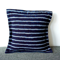 "Blue pillow Indigo blue navy tie dye stripe cotton cushion Square 48cm 19""inches Dark blue home decor Ethnic style homeware Minimalist Boho"