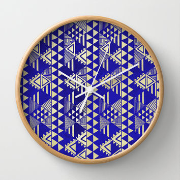 Ethnic Indigo Wall Clock by Louise Machado