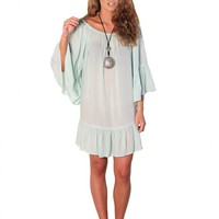 """LeeLou"" Mint Green Peasant Dress Tunic Top"