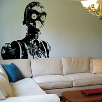 Star Wars Wall Decal c3p0 naked Sticker Vinyl Decal c-3po c3po Wall Art Room Decor Kids Boys Geek Gamer