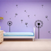 Dandelion Floral Wall Decal Flowers Set Vinyl Wall Art Stickers Breeze Nature Girls Room