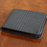 Men's Slimline Vegan Wallet Plaid Suit 5 Pocket Billfold