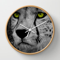 CHEETING EYES Wall Clock by catspaws