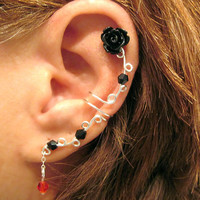 "Non Pierced Ear Cuff ""Gothic Rose"" Cartilage Conch Cuff Silver tone and Lucite Roses Prom"