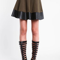 Faux Leather Trim Skater Skirt - LoveCulture