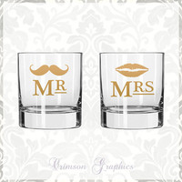 Mr. + Mrs. Lips and Mustache Two of a Kind Glassware || Rocks Glass Set