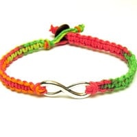 Neon Infinity Bracelet, Macrame Hemp Jewelry for Couples or Best Friends, Made to Order, Valentines Day Gift