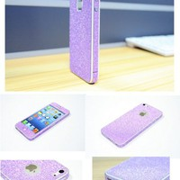 TCD Purple Sparkling Glitter Full Body Skin Sticker Film With Clear Screen Protector For iPhone 4 4S