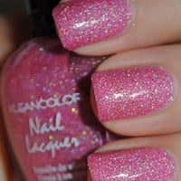 1 New Kleancolor HOLO PINK Glitter Nail Polish Art Varnish Color